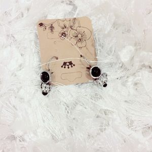 Silver Tone and Black Dainty Earrings